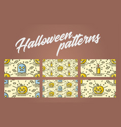 set of halloween seamless patterns with pumpkin vector image