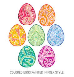 Set of isolated happy easter eggs vector