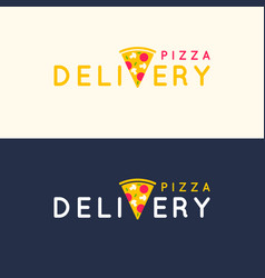 Set of logos pizza delivery in bright flat vector