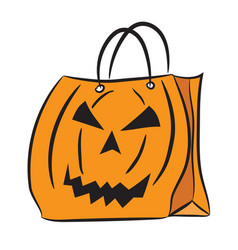 Set of shopping bags with the halloween pattern vector