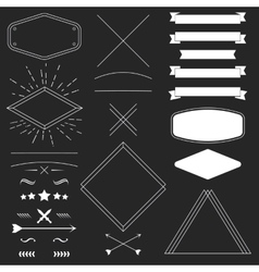Set of vintage hipster design elements like frames vector