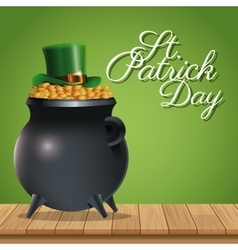 St patrick day pot golden coins hat wooden green vector
