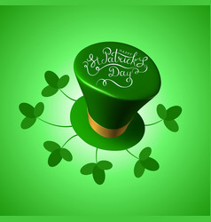St patricks day 3d hat with feast lettering text vector