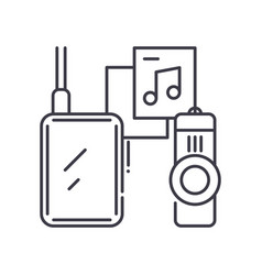 Storage device icon linear isolated vector