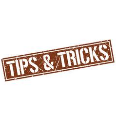 Tips tricks square grunge stamp vector