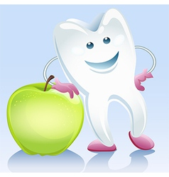 tooth and apple vector image