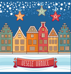 Vesele vanoce christmas message greeting card vector