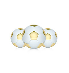 white and gold soccer ball realistic vector image