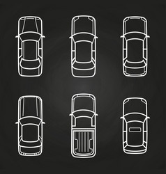 White cars template set - cars top view icons vector