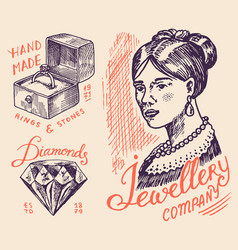 Women s jewelry badges and logo for shop luxury vector