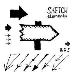 Doodle arrows set Sketch elements vector image