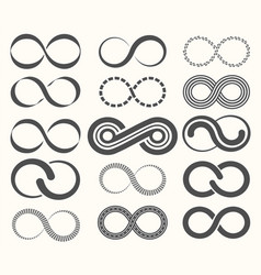 infinity symbol set15 signs of eternity vector image vector image