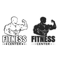 set logos for bodybuilding vector image vector image