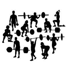 weightlifting activity sport silhouettes vector image vector image