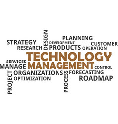word cloud - technology management vector image vector image