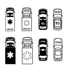 ambulance and police cars icons on white vector image vector image