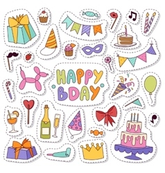 Birthday icons in flat colors style vector