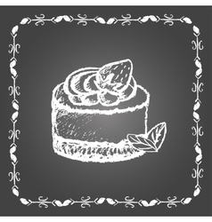 Chalk dessert with strawberry and mint leaves vector image