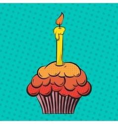 Cupcake pop art vector image
