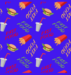 fast food seamless pattern with sandwiches french vector image