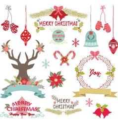 Merry ChristmasChristmas FlowersRustic Christmas vector image