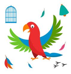 parrot bird cell wild animal vector image vector image
