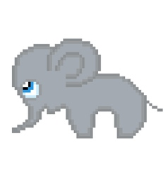 pixel elephant vector image
