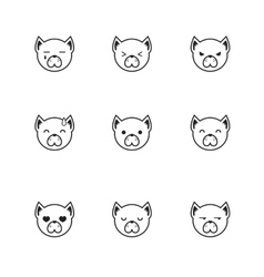 trendy line style set of funny cartoon dog vector image