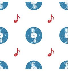 vinyl record vintage seamless pattern hand drawn vector image vector image
