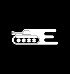 White icon on black background military tank with vector