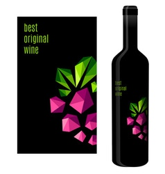 Wine label with bunch of grapes vector image vector image