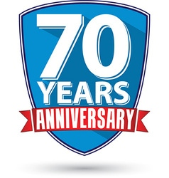 Flat design 70 years anniversary label with red vector image vector image