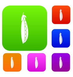 fresh peas set collection vector image vector image