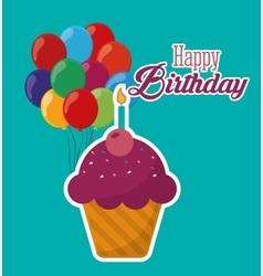 Happy birthday cupcake candle ed balloons vector