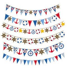set of isolated nautical garland vector image vector image