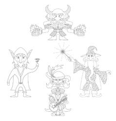 Fantasy heroes outline set vector image vector image