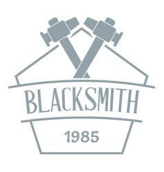 hammer blacksmith logo simple gray style vector image