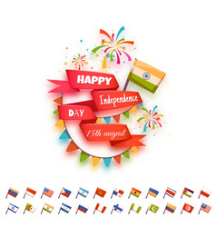 Happy independence day banner for many country vector image vector image