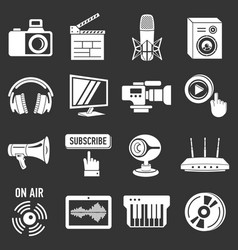 multimedia internet icons set grey vector image
