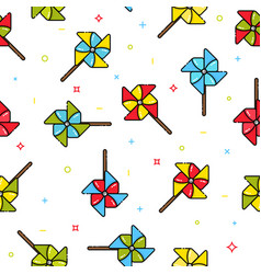 seamless pattern of colorful child toy windmills vector image vector image