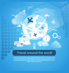 travel around world web banner with copy space on vector image