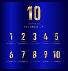 10 year anniversary celebration set gold blue vector