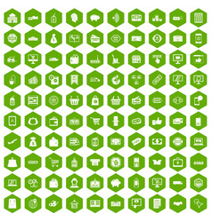 100 shopping icons hexagon green vector