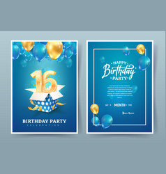 16th years birthday invitation double card vector
