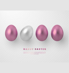 3d metallic rose gold and white eggs vector