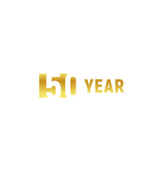 50 year happy birthday gold logo on white vector image