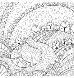 Adult coloring bookpage an abstract landscape vector