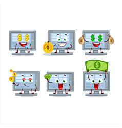 Among us monitor cartoon character with cute vector