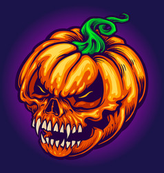 Angry skull jack o lantern pumpkins carved vector