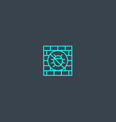 Antivirus firewall concept blue line icon simple vector